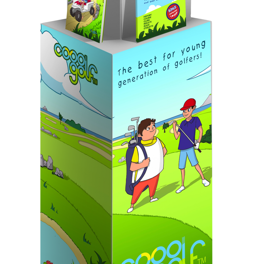 Cooolgolf – golf books for kids | Branded stand for golf clubs and